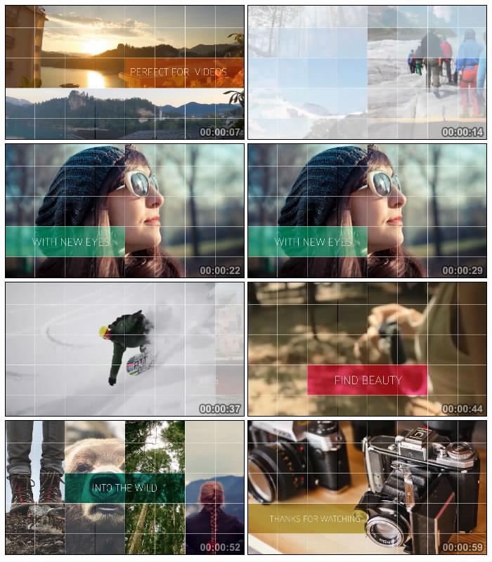 假期旅游电子相册幻灯片屏幕分割线条栏目包装展示 AE模板