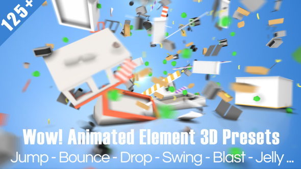 125组E3D动画AE预设 Wow! Dynamic Element 3D Presets