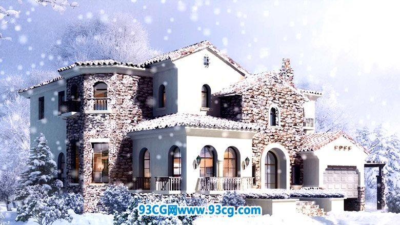 雪中的大房子 冬季圣诞节雪地飘雪 动态视频素材