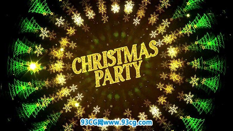 AE模板:圣诞节圣诞树圣诞欢乐派对Party文字标题片头模板