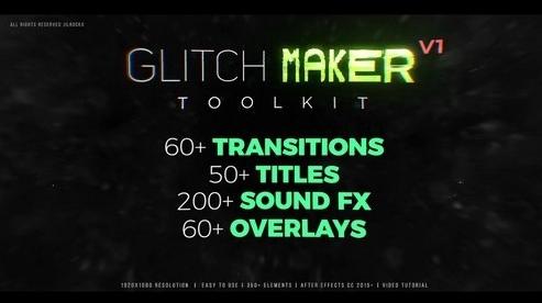 PR模板下载 350+ 失真动画特效模板库 GlitchMaker工具包