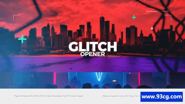 失真特效开场AE视频模板下载 Glitch Opener