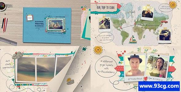 AE模板下载 旅行幻灯片电子相册 视频片头模板下载
