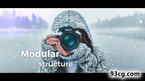 PR模板 冬日雪电子相册视频模板下载 Winter Slideshow