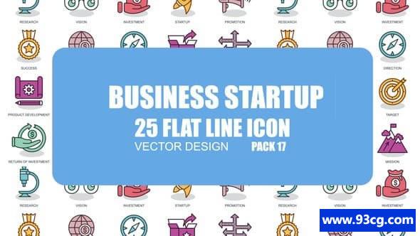 AE素材库 Business Startup  平面动画图标 AE设计素材库