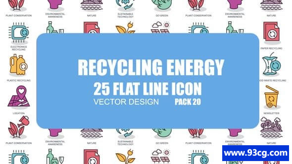 AE模板 回收能源平面动画图标 Recycling Energy Flat Animation