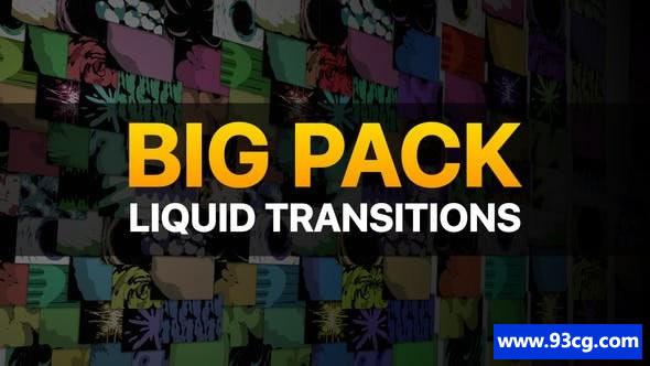 AE模板 流体MG动画转场视频模板Liquid Transitions Big Pack
